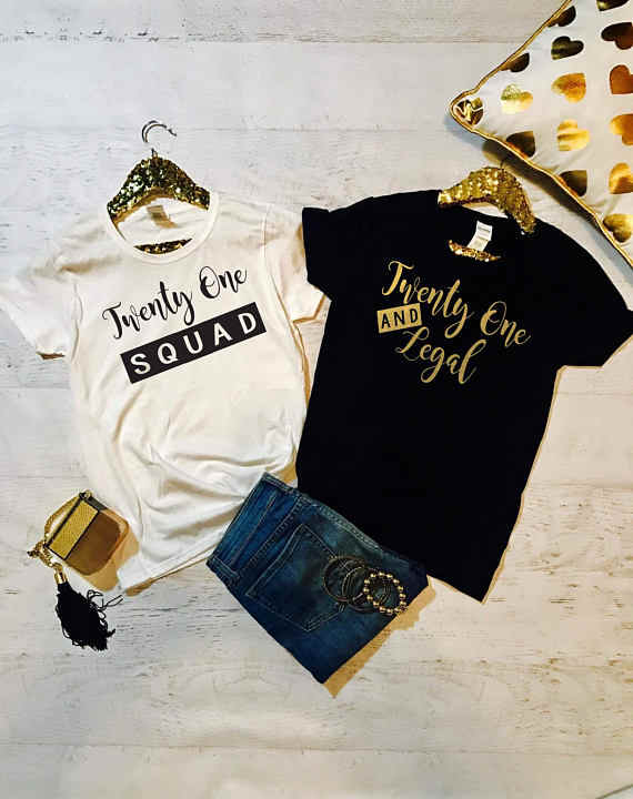 t shirt 21st birthday party queen 21 birthday clothing tshirt twenty one  and legal squad shirts plus size gift top funny befree