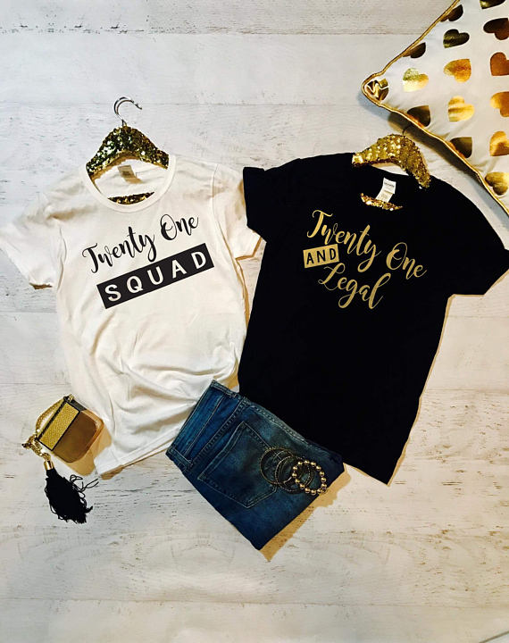 T Shirt 21st Birthday Party Queen 21 Clothing Tshirt Twenty One And Legal Squad Shirts Plus Size Gift Top Funny Befree In From Womens