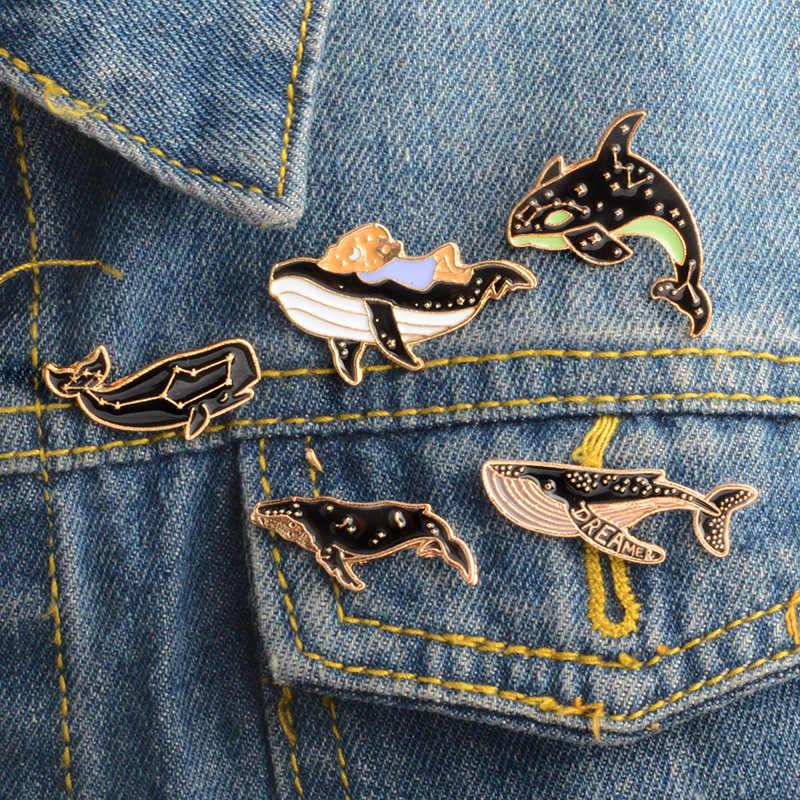 2018 heißer Verkauf Zink-legierung Abzeichen Schöne Dolphin Whale Taste Auf Emaille Brosche T-shirt Bluse Jeans Tasche Bekleidungs DIY Dekoration 1 stück