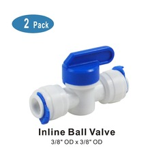 Straight Inline Ball Valve Fitting 3/8 OD x 3/8 OD Quick Connect Parts for Water Filters & Reverse Osmosis RO Systems - 2 PACK цена