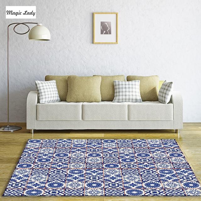 schlafzimmer blaugrau, teppich zubehör ornamente kreise portugiesisch fliesen abstrakte, Design ideen