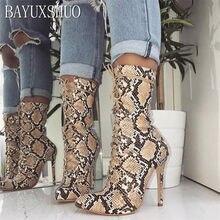 94f28d08 BAYUXSHUO Marca Diseño Sexy piel de serpiente tobillo botas mujeres tiras  Stiletto tacones altos gladiador Chelsea botines zapat.
