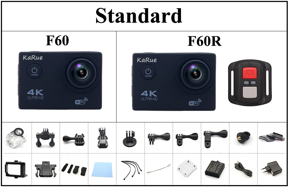 Action camera Ultra HD 4k WiFi 1080p 60fps Standard