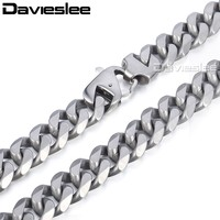 Davieslee Mens cadena mate cepillado pulido collar 316L corte de acero inoxidable Curb Cuban Link Tono de plata 14,5mm LHNM18