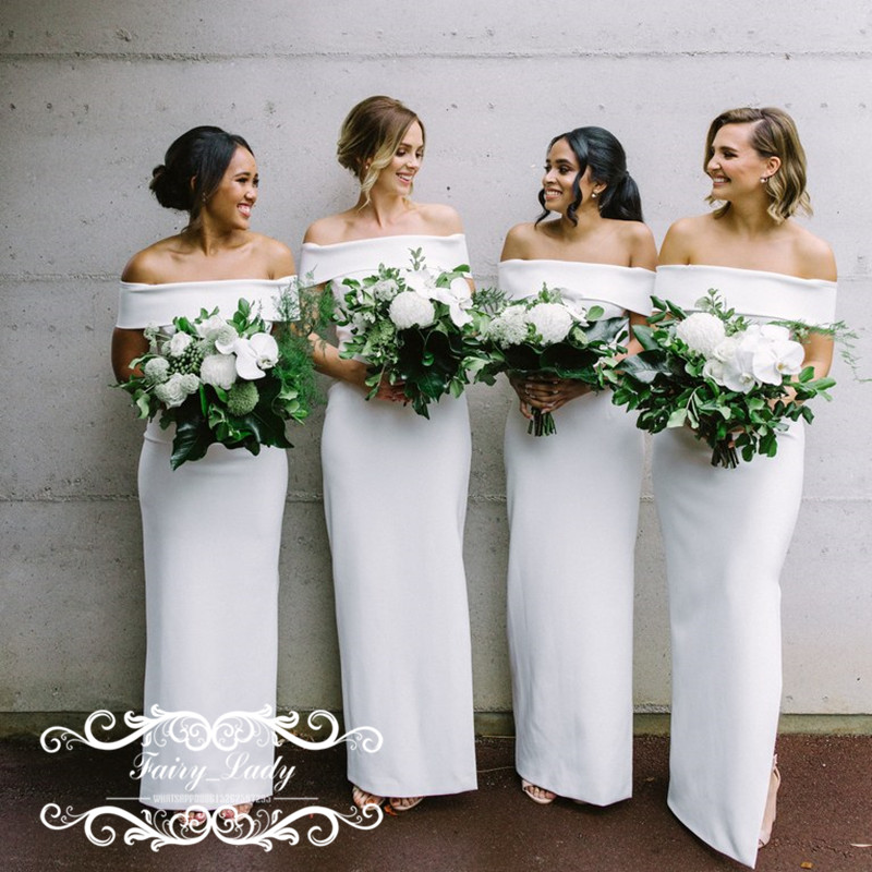 Fashion Off Shoulder   Bridesmaid     Dresses   With Short Sleeves 2018 White Stain Long Sheath Party   Dress   Maid Of Honor For Wedding