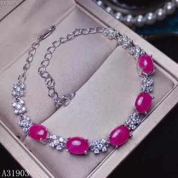 KJJEAXCMY fine jewelry KJJEAXCMY boutique jewelry 925 sterling silver inlaid natural ruby female bracelet support detection