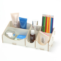 New Creative DIY Wooden Desktop Storage Box Pencil Stationery Holder Nail Polish Rack Jewelry Container Women