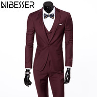 NIBESSER Blazers Men 3pcs Suits Latest Coat Slim Fit Pant Designs Business Wedding Grooms Wear Jacket
