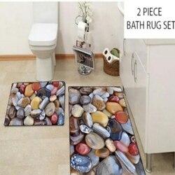 Anders Bruin Geel Grijs Rood Peble Stenen 2 Pcs 3d Patroon Bad Matten Anti Slip Soft Wasbare Badkamer Mat wc Tapijten