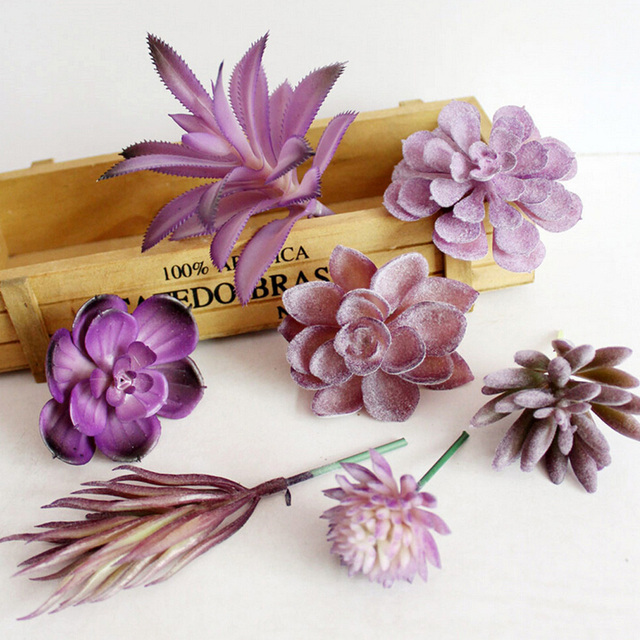 Wholesale 5PCS/lot Artificial Mini Succulents Plants Blue Flower arrangement Lotus Echeveria color random