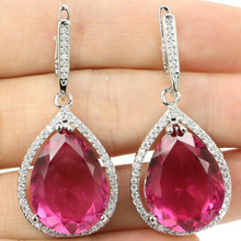 SheCrown 20x15mm Water Drop Pink Rubellite White CZ Gift Girls Silver Earrings 43x19mm
