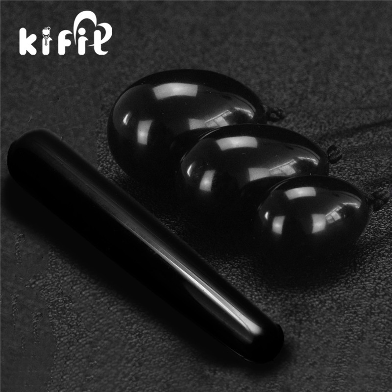 KIFIT 3pcs Natural Black Obsidian Yoni Egg Kegel Exercise + 1Pc 100mm Massage Stick Health Care Tool 7 inch natural black obsidian yoni wands crystal massage relaxation wands gemstone pleasure stick