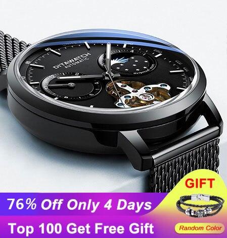 2019 relojes oem watch logo tourbillon automatic mechanical stainless steel wrist hand bracelet men watch