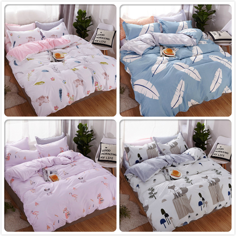 3/4 Pcs Bedding Set Duvet Cover Sheet Pillowcase Soft Cotton Bed Linen Adult Kids Bedspreads Single Twin Queen King Size 180x220