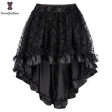 Steampunk Vintage Corset Skirt Plus Size 6XL Black Coffee Back Zipper Closure Satin Lace Overlay Gothic Hot Asymmetrical Skirts plus size vintage jacquard zipper corset