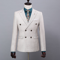 Men's suits Korean fashion suits business light grey double breasted three pieces with vest bridegroom wedding dress suits
