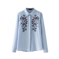 ZANZEA Women Floral Embroidery Striped Shirt Casual Long Sleeve Blouses 2017 Fashion Spring Turn Down Collar