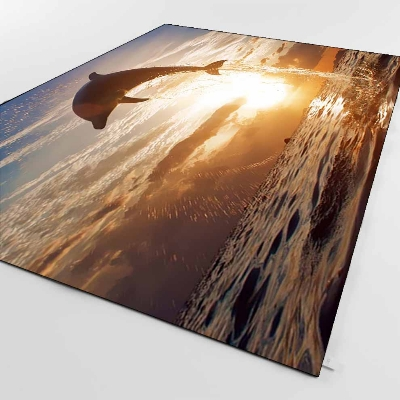 Else Sun Set Sea Dolphin Jumping Background 3d Print Non Slip Microfiber Living Room Decorative Modern Washable Area Rug Mat