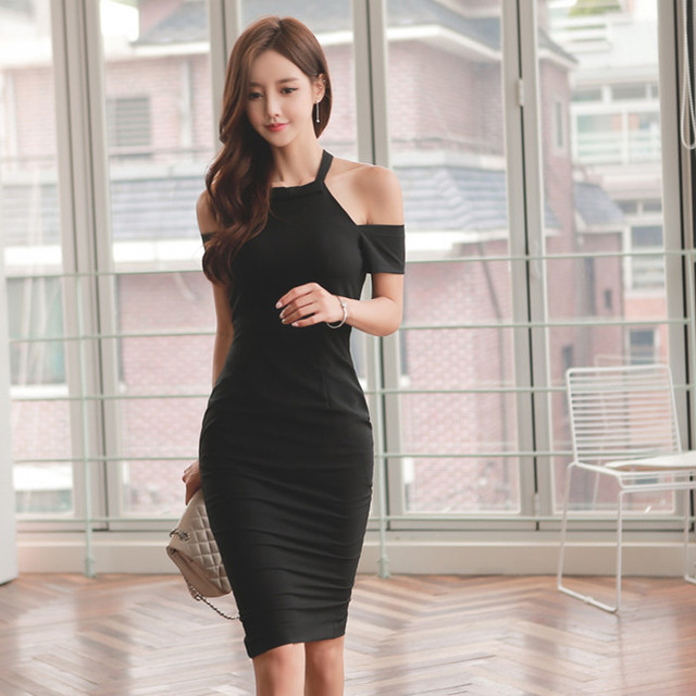 95e49d41a491 Solid Black Women Dress Sheath Slim Fit Off-Shoulder Sexy   Club Outfit  Summer Fashion Wear 2017 Women Clothes RWD174009