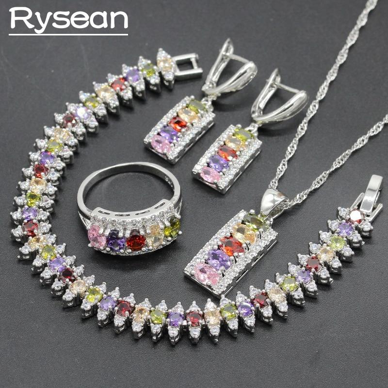 4PCS 925 Silver Jewelry Sets Multi color Zirconia For Women Necklace Pendant Bracelet Ring Dangle Earrings