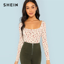 abe1db607fb5 SHEIN Apricot Floral Print Square Neck Tee Elegant Long Sleeve Slim Fit  Tops Women Autumn Casual Minimalist Stretchy T-shirt