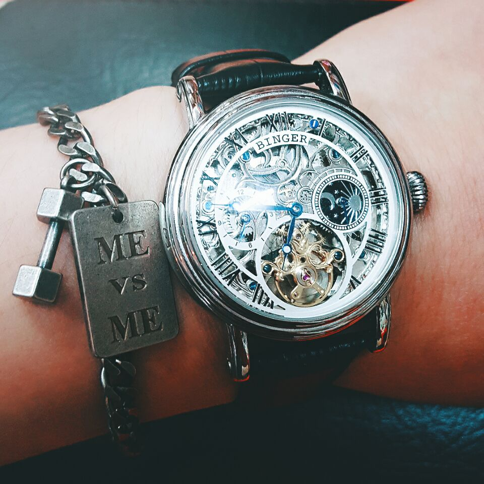 Luxury Skeleton Design Moon Phase Watches Relogio Masculino BINGER Automatic Watches For Men Mechanical Clock Leather Strap цена и фото