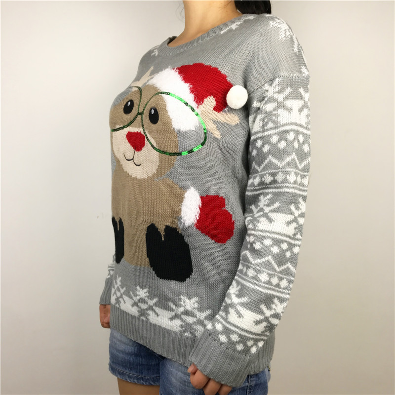 Kawaii Reindeer Wearing Glasses Knitted Ugly Christmas Sweaters ...