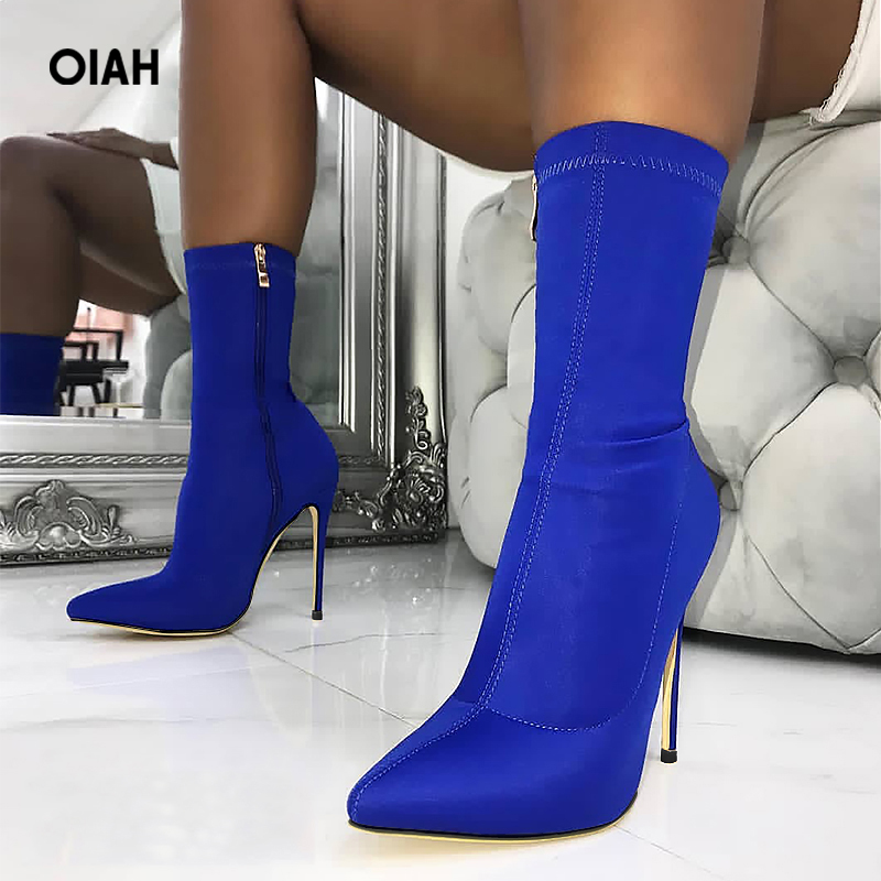 2018 Spring/Autumn New Women Sock Boots Pointed Toe Elastic High Boots Slip On High Heel Ankle Boots Women Pumps Stiletto Botas fashion catwalk pointed toe ankle boots for women candy color satin sock booties stiletto heel slip on botas mujer