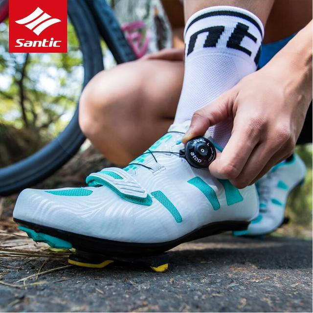 Santic Women Road Cycling Shoes 2019 TPU Wear-resisting Zapatillas Breathable Bike Shoes Auto-locking Athletic Bicycle Shoes