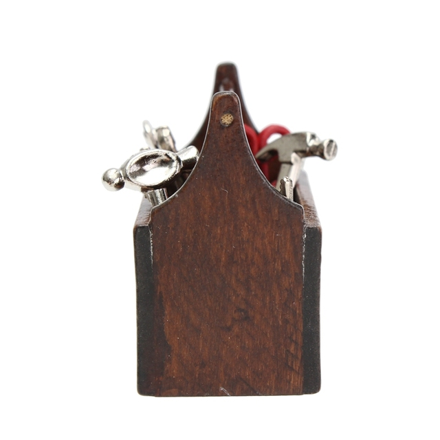 1:12 Doll House Miniature Wooden Box with Metal Tools