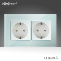 Double 16A EU Socket Wallpad White Crystal Glass 146 86mm EU European German Standard Wall Socket