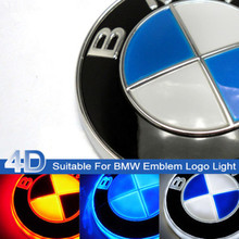 Free Shipping Illuminated Auto Car Led 4D Grille BlLED Logo Emblem Light For BMW White Red