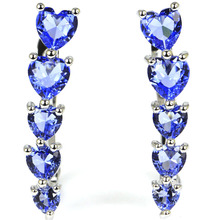 SheCrown Heart Drop Shape Rich Blue Violet Tanzanite Gift Girls Silver Stud Earrings 31x7mm