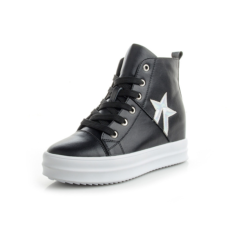 Casual shoes for women New autumn and winter high-top leather shoes Women thick underwear with white shoes Korean wild 2017 autumn and winter new plus velvet thick women s boots soft bottom comfortable breathable mother shoes wild leather