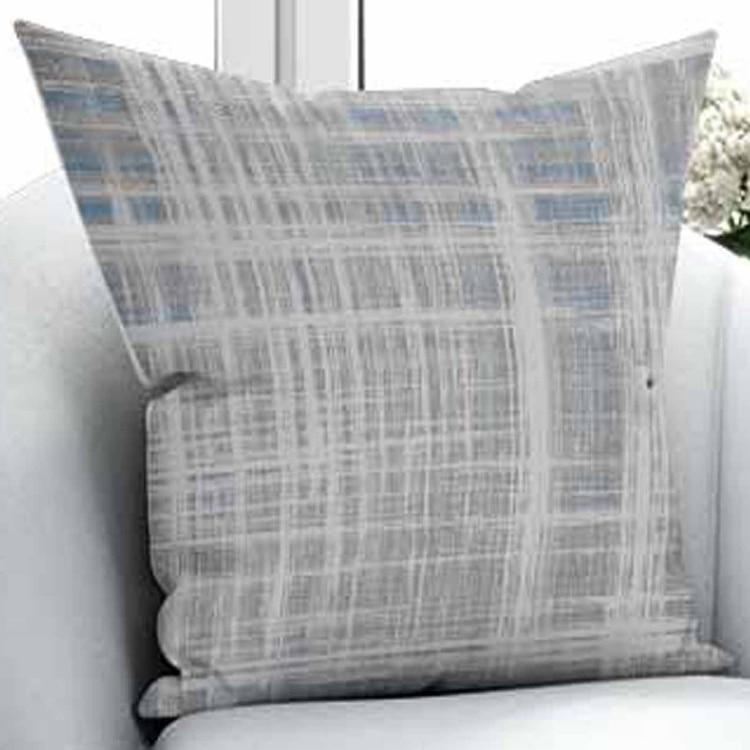 Else Gray White Blue Mixed Lines Nordec Design 3D Print Microfiber Throw Pillow Case Cushion Cover Square Hidden Zipper 45x45cm