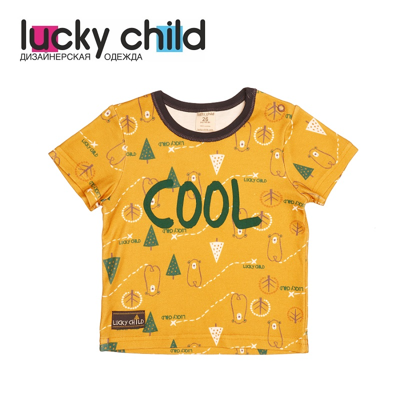 T-Shirts Lucky Child for boys and girls 63-26 Top Kids T shirt Baby clothing Tops Children clothes kids outfits letter pattern t shirts in white
