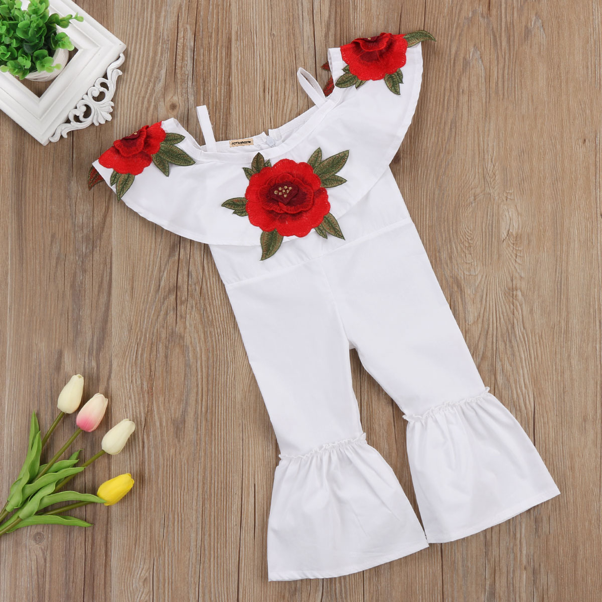 1-6Y Kids Baby Girls Retro Floral Romper Jumpsuits Playsuit Trousers Outfit Clothes AU