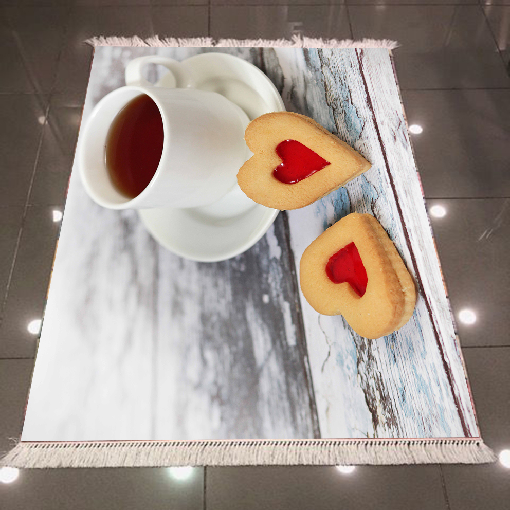 Else Tea Cups With Hear Cakes On Gray Woods Retro 3d Microfiber Anti Slip Back Washable Decorative Kitchen Area Rug Carpet