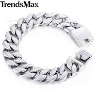 Trendsmax 316L Stainless Steel Curb Cuban Link Bracelet Mens Bracelet 18mm Silver Tone Customized KHB471