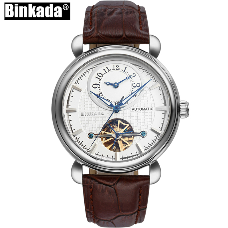 Mens Watches Automatic Mechanical Watches BINKADA New Skeleton Toubillon Relogio Homme Male Dual Time Watch