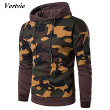Vertvie Full Sleeve Hooded Men's Sportswear Camouflage Fake 2-piece Patchwork Autumn Sport Suit Pullover Running Shirt Plus Size