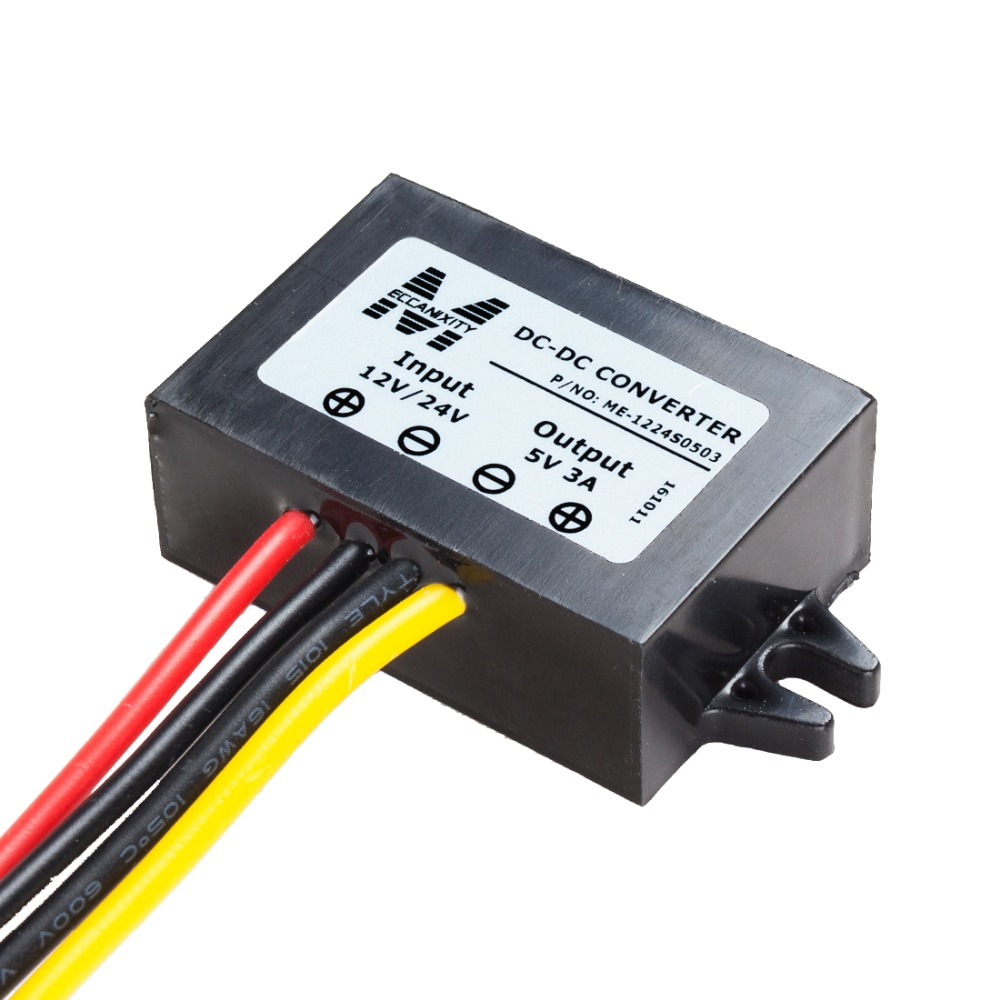 Waterproof Voltage Converter Regulator DC 12V/24V Step-down to DC 5V 3A 15W Power Buck Transformer Adapters Power Supplies