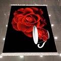 Черный Пол красные розы цветы чайные чашки килим 3d печать микрофибра противоскользящая задняя моющаяся декоративная кухонная зона ковер