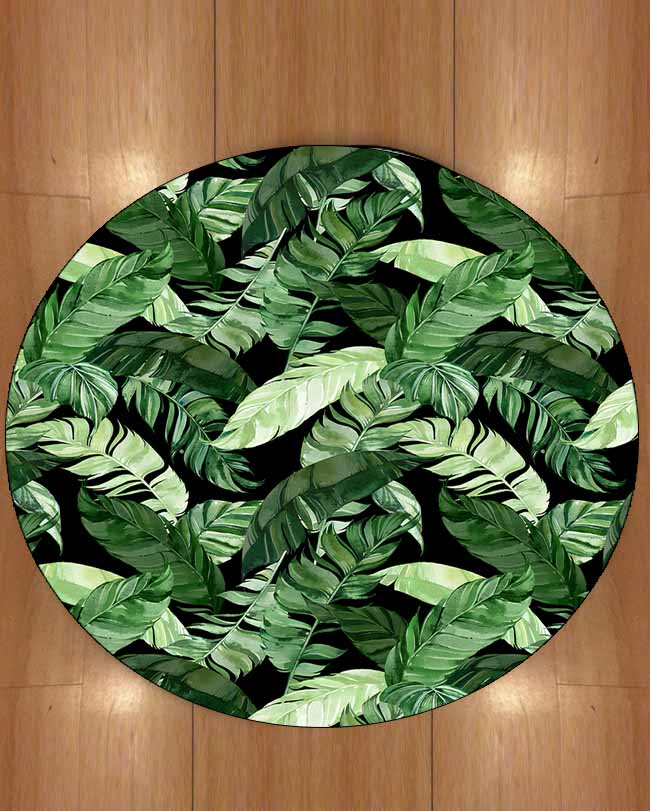 Else Black Floor Green White Tropical Leaves Floral 3d Print Anti Slip Back Round Carpets Area Rug For Living Rooms Bathroom