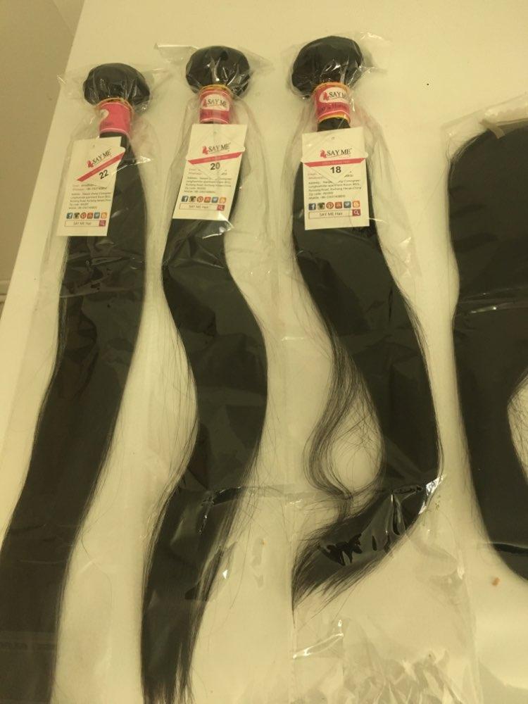 3 Bundles Ombre Brazilian Straight Human Hair Bundle With Closure Weave 1b/4/27 4x4 Free Part Remy Blonde Lace Closure SAY ME