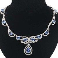 Elegant 25.0g Rich Blue Violet Tanzanite White CZ Ladies 925 Silver Necklace 18.5 19.5inch 52x34mm