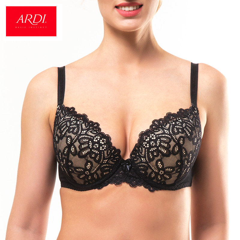 Woman's Bra Lace Black Large Push-up Cup Cotton Lining Big Breast Bras for Women ARDI R2715-03