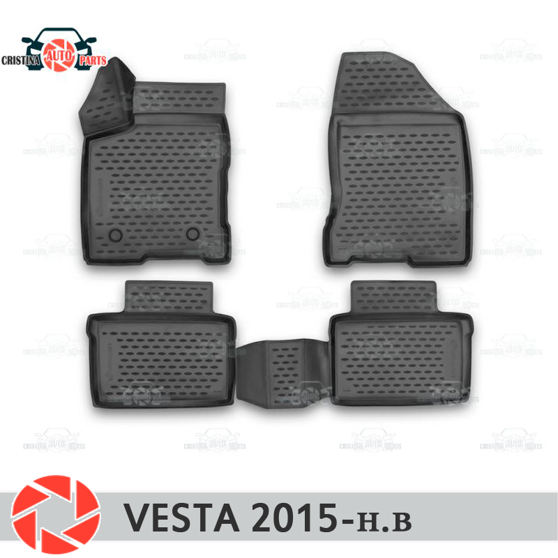 For Lada Vesta SD SW SW CROSS 2015-  floor mats rugs non slip polyurethane dirt protection interior car styling accessories for lada vesta sw cross trunk mat for equipment with raised floor element element5249v12