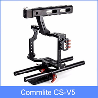 Commlite CS V5 Aluminum Alloy Camera Video Cage Handle Grip for Sony A7 III A9 A6000 A6500 Panasonic GH5 GH4 GH3 Fujifilm X t3