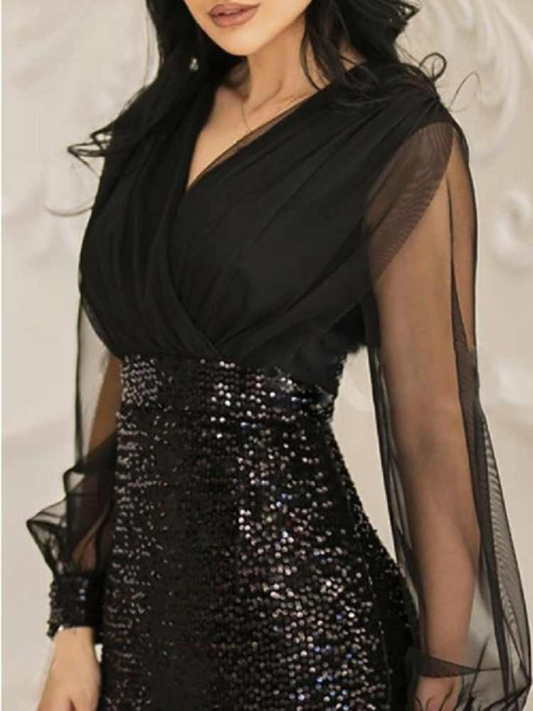 Первая песня блестками сексуальное платье Новинка 2019 женское летнее платье черное ретро элегантное платье на одно плечо длинное